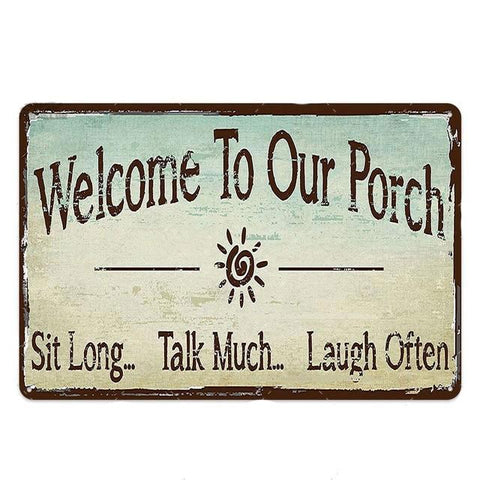 Plaque Metal Vintage Welcome To