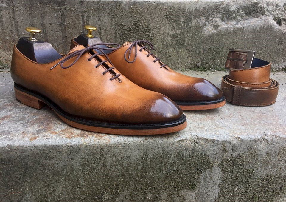 Light Brown Wholecut Oxford Shoes and Belt