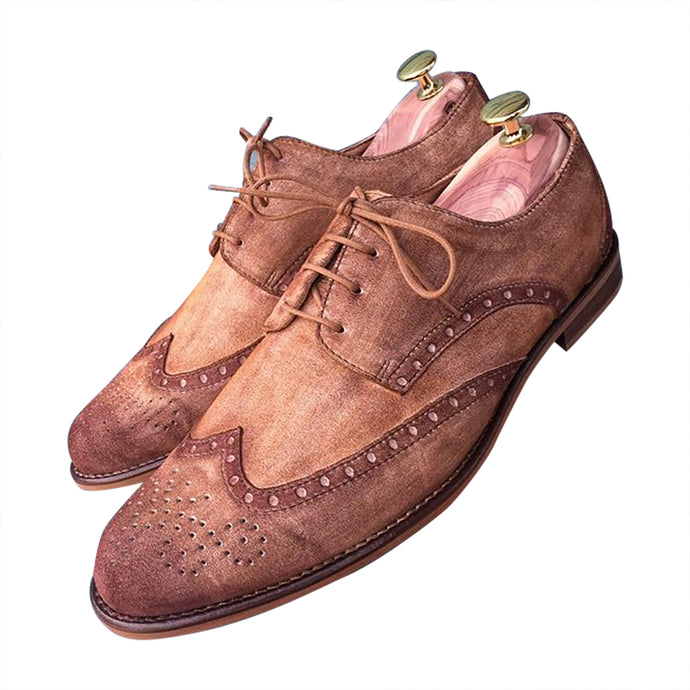 Brogue shoes brown light leather for men