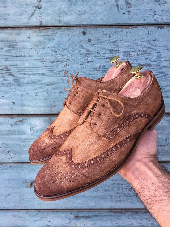 Light Brown Suede Brogues Shoes
