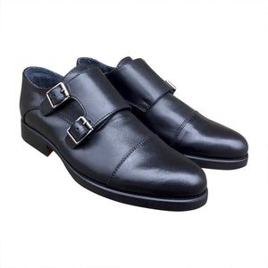 Double Monk Black leather men shoes online