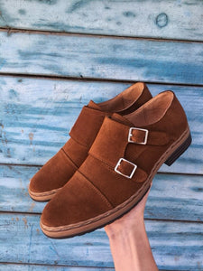 Brown Suede Leather Double Monk