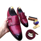 Best Double Monk leather men's hand made shoes