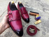 Monk shoes Burgundy double strap