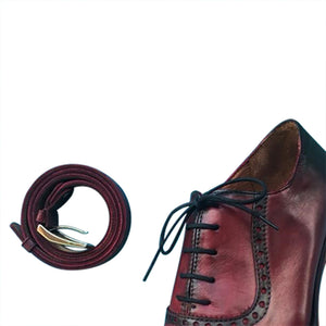Burgundy Calfskin Oxford hand made smart casual shoes with belt