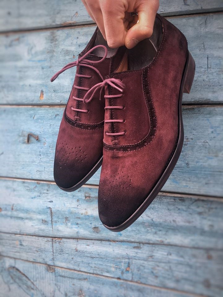 Burgundy Suede Leather Oxford Shoes