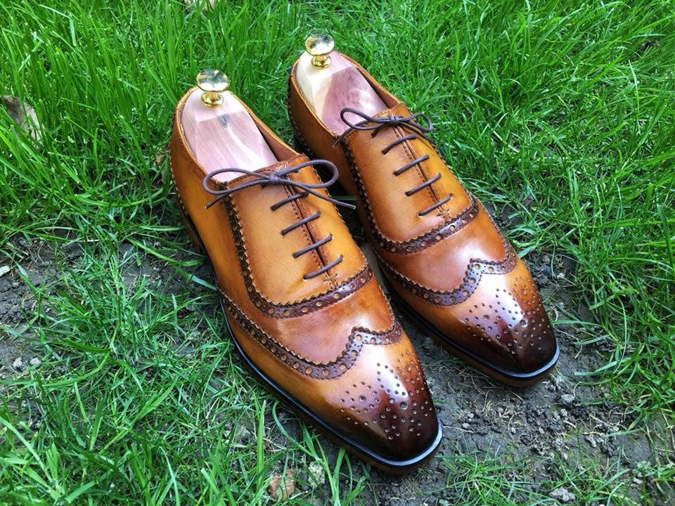 Brown Patent Perforated Brogues