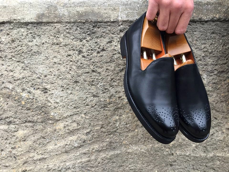 Perforated Black Calfskin Loafers