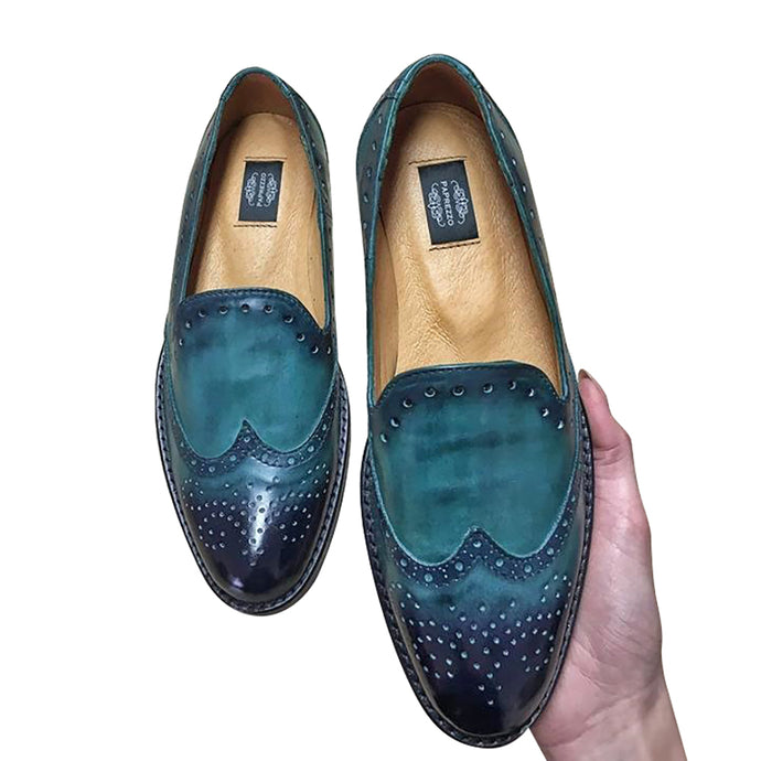 Suede leather hand made green shoes for men
