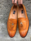 Brown Patent Loafers with Tassles