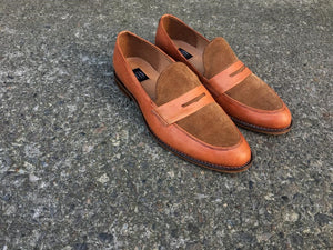 Tan Calfskin and Suede Leather Loafers