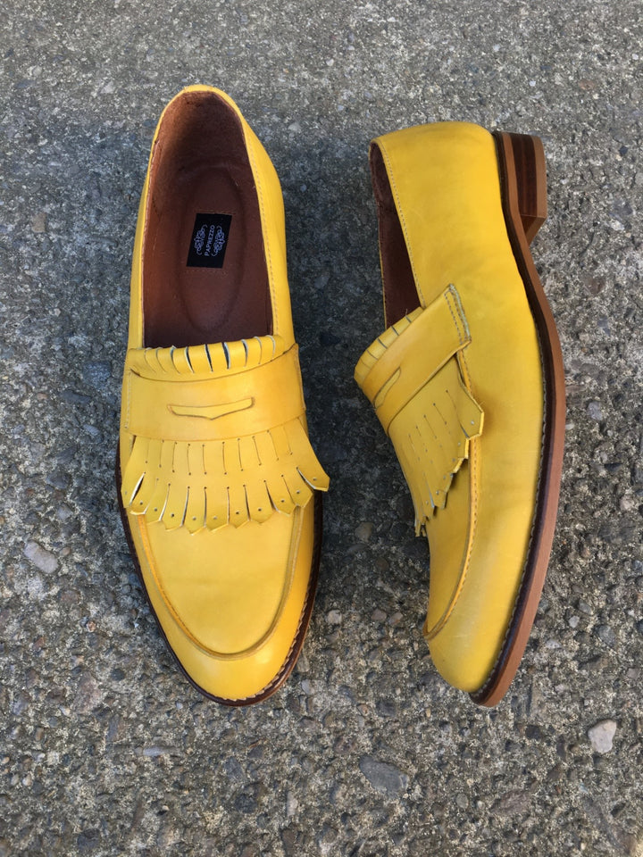 Yellow Fringes Men's Loafers