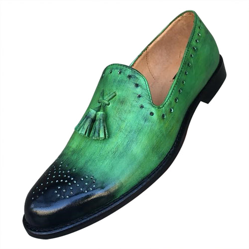 Green leather hand made shoes for men