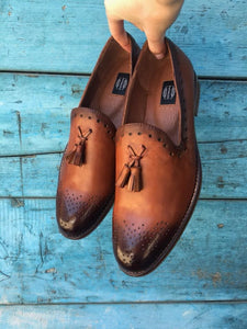 Brown Hand Painted Tassels Loafers