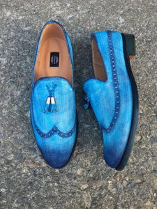 Aqua Blue Suede Loafers