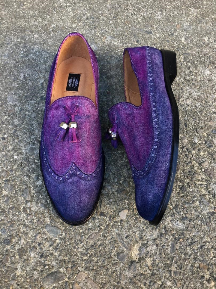 Purple and Blue Suede Loafers with Tassels