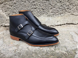 Elegant Black Double-Monk Boots