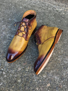 Yellow and Brown Patent Boots