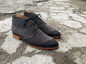 Grey Suede Leather Boots