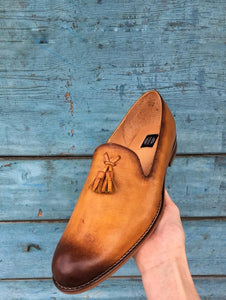 Dark Yellow Leather Loafers