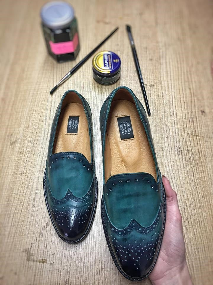 Green Leather Patent Loafers