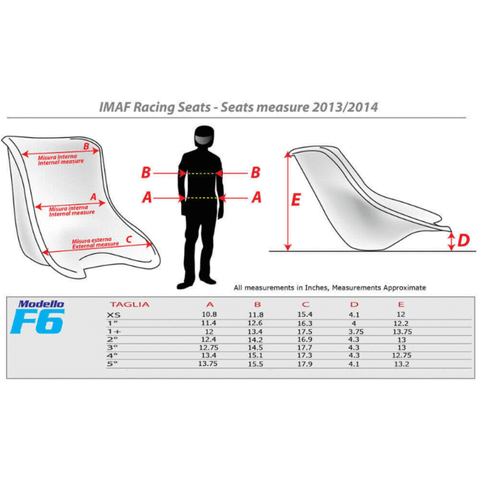 DR Kart Seat Size Chart Inches