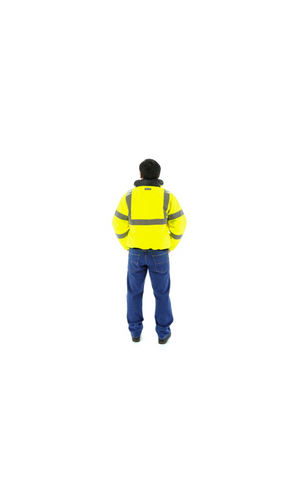 Majestic 75-1300 Hi-Vis Yellow Waterproof Bomber Jacket with Fixed Quilted Liner ANSI 3