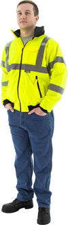 Majestic 75-1301 Hi-Vis Yellow Waterproof Bomber Jacket with Removable Fleece Liner ANSI 3