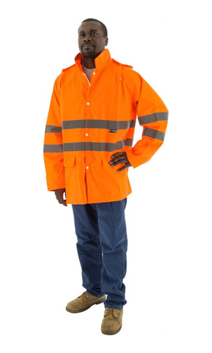 Majestic 75-1352 Hi-Vis Waterproof Rain Jacket ANSI 3 R