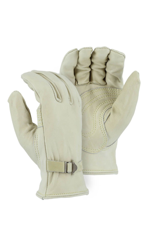Majestic Gloves 1550 Kevlar Sewn Cowhide Leather Gloves with Leather Wrist Strap (Dozen)