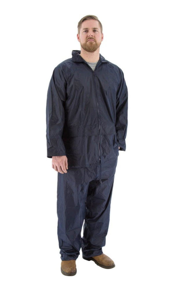 Majestic 71-2010 2-Piece Hooded Navy Rain Suit