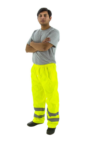 Majestic 75-2351 Hi-Vis Yellow Waterproof Rain Pants ANSI E