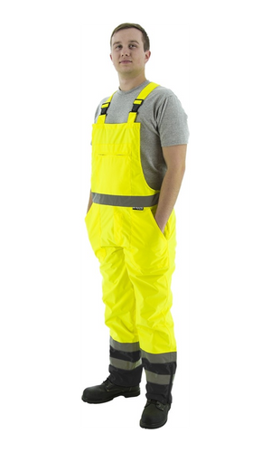 Majestic 75-2355 Hi-Vis Yellow and Black Waterproof Bib Overall ANSI E