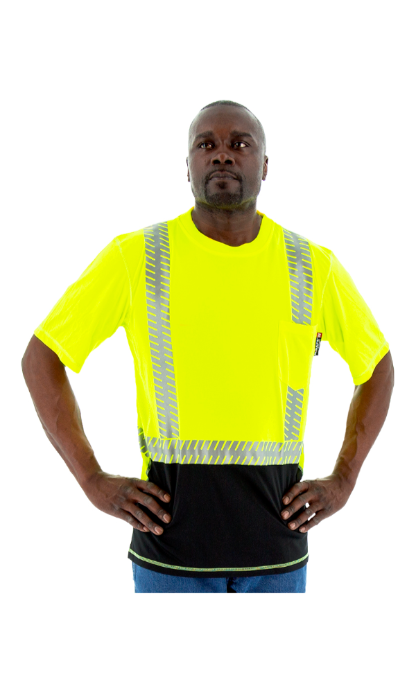 Majestic 75-5217 Hi-Vis Yellow Snag Resistant Short Sleeve Reflective Chainsaw Striping ANSI 2, R