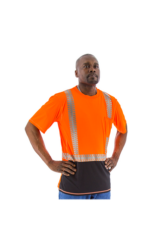 Majestic 75-5218 Hi-Vis Orange Snag Resistant Short Sleeve Reflective Chainsaw Striping ANSI 2, R