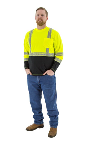 Majestic 75-5257 Hi-Vis Yellow Long Sleeve Reflective Chainsaw Striping ANSI 2 R