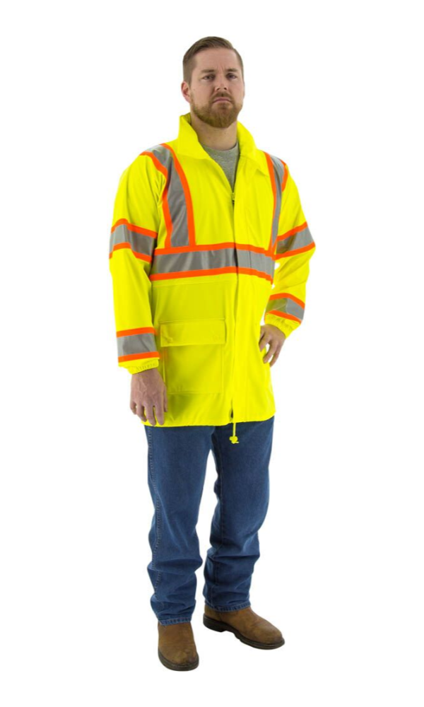 Majestic 75-7301 Hi-Vis Waterproof Rain Jacket DOT Striping ANSI 3 R