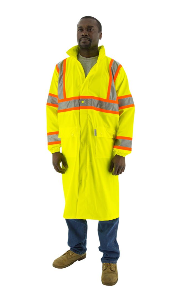 Majestic 75-7303 Hi-Vis Waterproof Rain Jacket DOT Striping ANSI 3 R