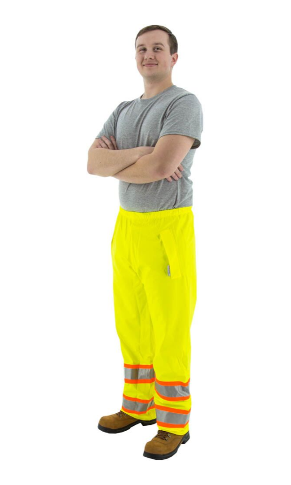 Majestic 75-7351 Hi-Vis Waterproof Rain Pants DOT Striping ANSI E