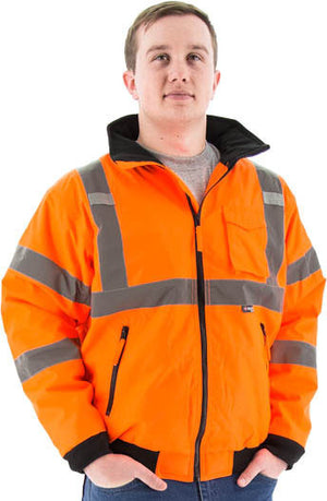 Majestic 75-1302 Hi-Vis Orange Waterproof Bomber Jacket with Removable Fleece Liner ANSI 3