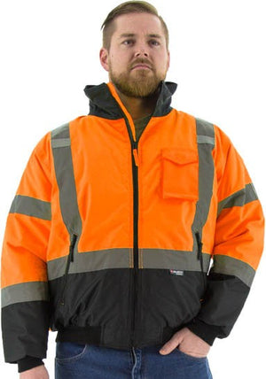 Majestic 75-1314 Hi-Vis Orange Waterproof Bomber Jacket with Fixed Quilted Liner ANSI 3