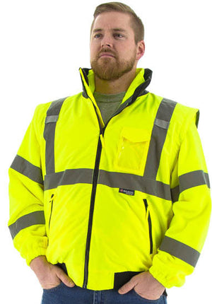 Majestic 75-1381 Hi-Vis Transformer Bomber Jacket Waterproof 8-in-1 Removable Winter Liner ANSI 3
