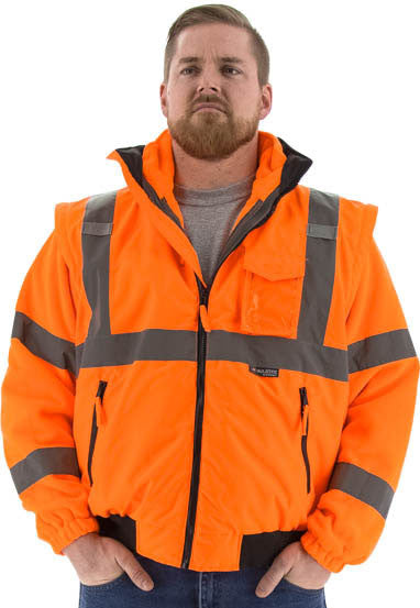 Majestic 75-1382 Hi-Vis Transformer Bomber Jacket Waterproof 8-in-1 Removable Winter Liner ANSI 3