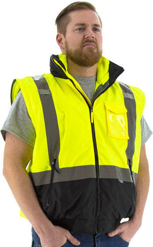 Majestic 75-1383 Hi-Vis Transformer Bomber Jacket Waterproof 8-in-1 Removable Winter Liner ANSI 3