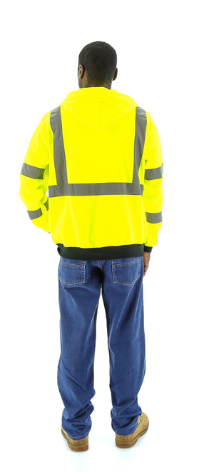 Majestic 75-5323 Hi-Vis Hooded Sweatshirt Zippered Front ANSI 3