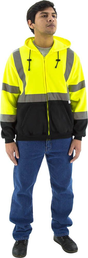 Majestic 75-5325 Hi-Vis Hooded Sweatshirt Zippered Front ANSI 3