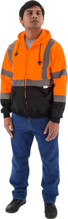 Majestic 75-5326 Hi-Vis Hooded Sweatshirt Zippered Front ANSI 3