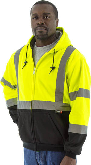 Majestic 75-5331 Hi-Vis Hooded Sweatshirt Zippered Front Teflon Treated ANSI 3