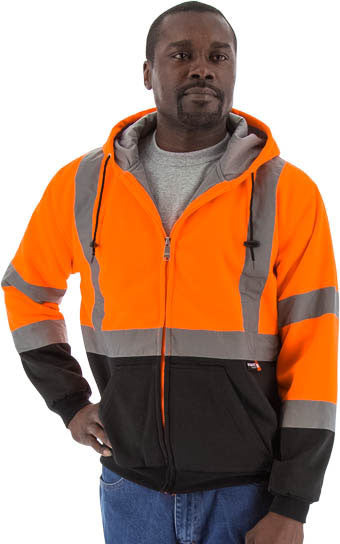 Majestic 75-5332 Hi-Vis Hooded Sweatshirt Zippered Front Teflon Treated ANSI 3