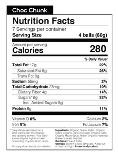 Nunona Chocolate Chunk Nutritional Table